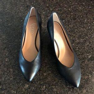 Franco Sarto Black Leather Wedges
